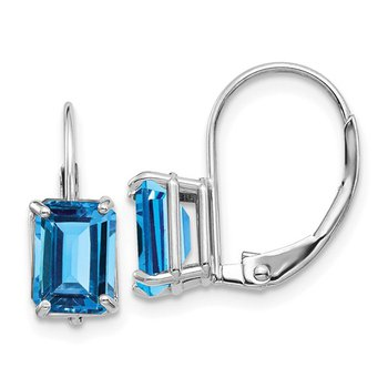 14k White Gold 7x5mm Emerald Cut Blue Topaz Leverback Earrings