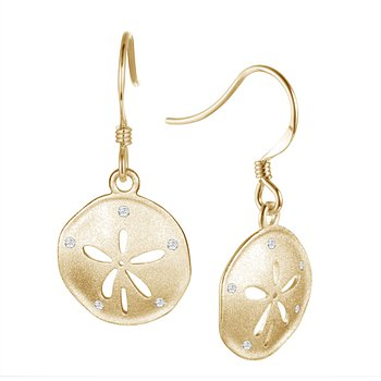 14k Yellow Gold Dangle Sand Dollar Earrings with Diamond
