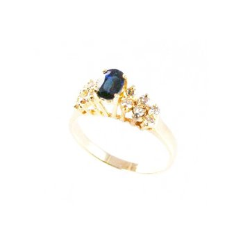 Genuine Blue Sapphire and Diamond Ring in 14k Yellow Gold - 4057