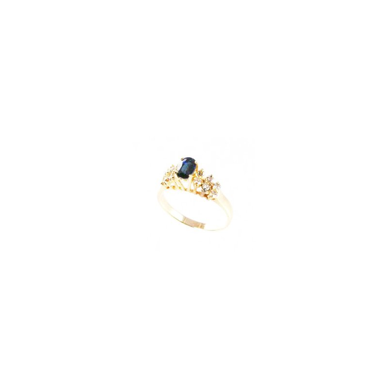 Signature Collection Genuine Blue Sapphire and Diamond Ring in 14k Yellow Gold - 4057