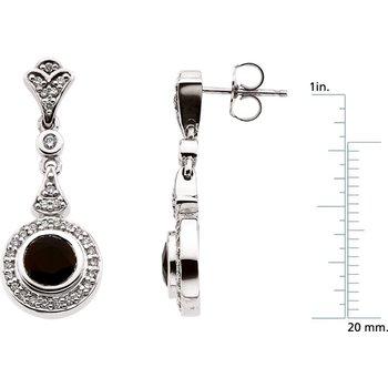 Genuine Onyx & Diamond Earrings