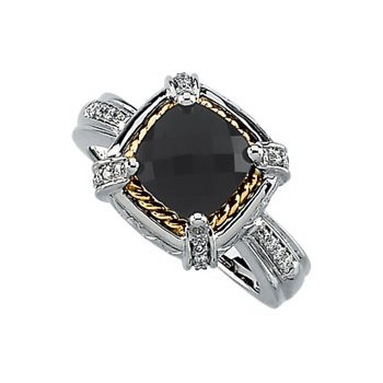 Genuine Checkerboard Onyx & Diamond Ring