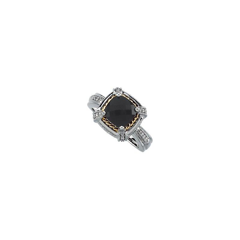 Signature Collection Genuine Checkerboard Onyx & Diamond Ring
