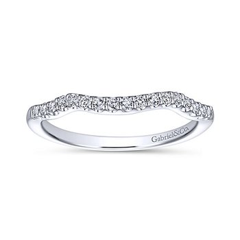 14k White Gold Curved Diamond Wedding Band by Gabriel NY
