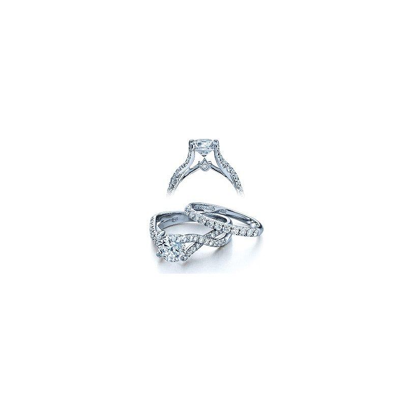 Verragio Verragio Couture 0374 - Verragio Diamond Engagement Ring in 18k White Gold with a Twist Shank