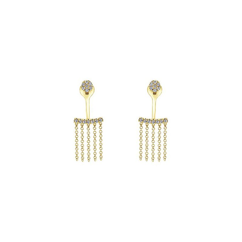Signature Collection 14k Yellow Gold Peek a Boo Earrings by Gabriel NY - Style #EG13110