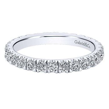 14k White Gold French Pave' Set Diamond Eternity Band Anniversary Band By Gabriel NY