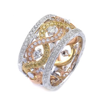 18k Tri-Color Gold Diamond Band - #38592