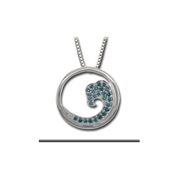 .47ct Genuine Irradiated Blue Diamond Wave Pendant in 14k White Gold - 36465