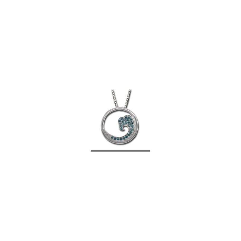 Signature Collection .47ct Genuine Irradiated Blue Diamond Wave Pendant in 14k White Gold - 36465