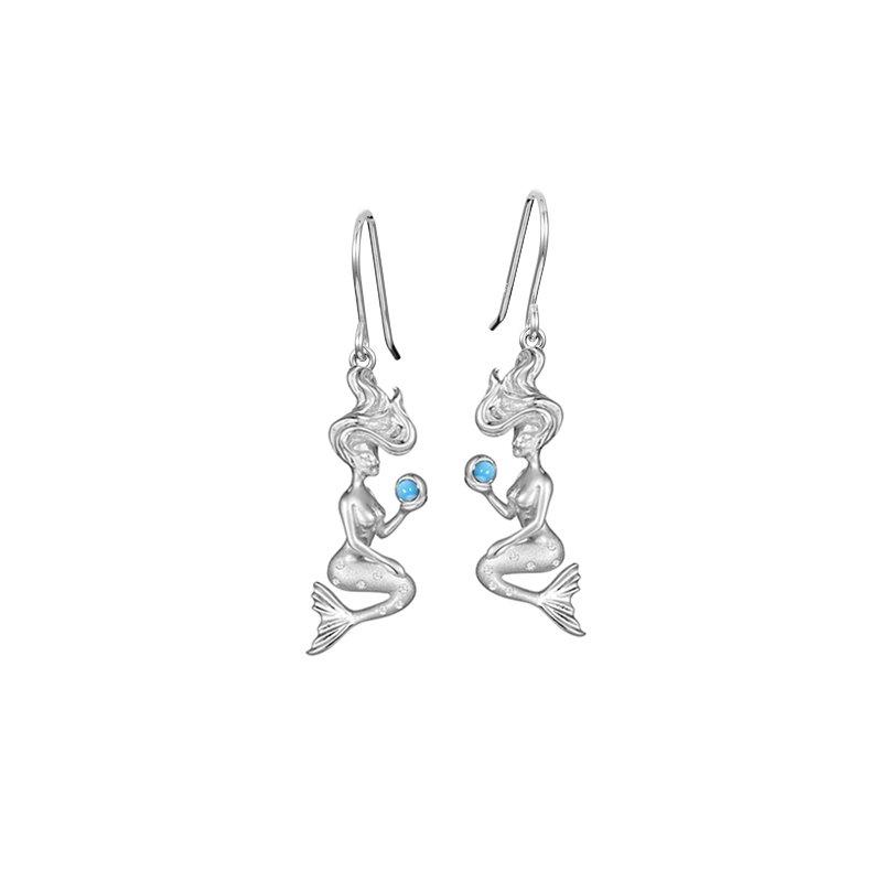 Sealife Jewelry Sterling Silver Mermaid Earrings with Larimar