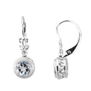 Genuine Aquamarine & Diamond Earrings