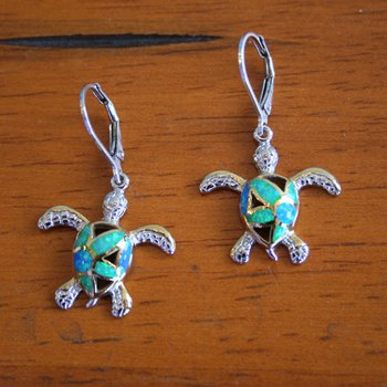 Sterling Silver and 18k Yellow Gold Plated Kyocera Lab Created Opal Leverback Turtle Earrings