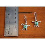 Kovel Sealife Sterling Silver and 18k Yellow Gold Plated Kyocera Lab Created Opal Leverback Turtle Earrings