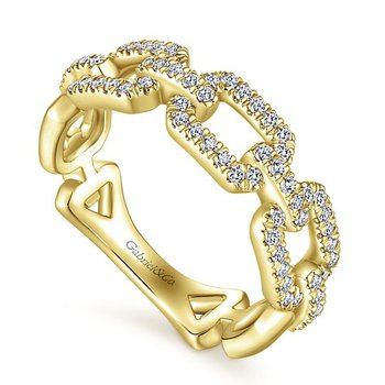 Gabriel NY 14k Yellow Gold Pave' Diamond Stack Ring - Style #LR51249Y45JJ