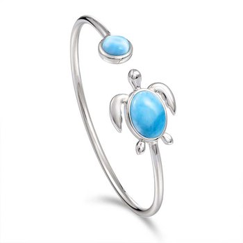 Sterling Silver Soft Flex Turtle Bangle with Larimar