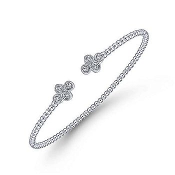 "14k White Gold Bujukan Bead Split Cuff 6 1/4"" Bracelet with Quatrefoil Diamond Endcaps by Gabriel NY"