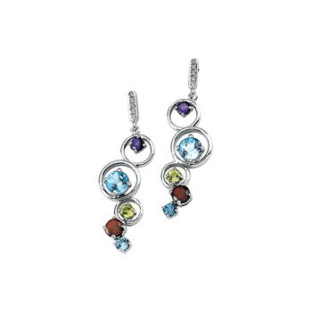 Genuine Multi Gem-stone & Diamond Earrings