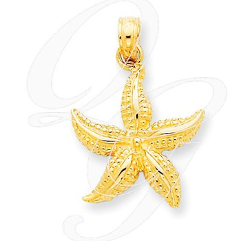 Quality Collection Sealife 14k Yellow Gold Textured Starfish Pendant