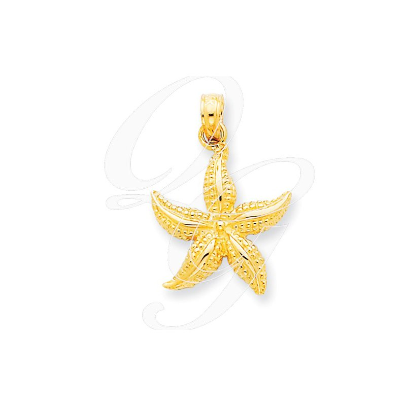Sealife Jewelry Quality Collection Sealife 14k Yellow Gold Textured Starfish Pendant