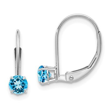 14k White Gold 4mm Blue Topaz Leverback Earrings