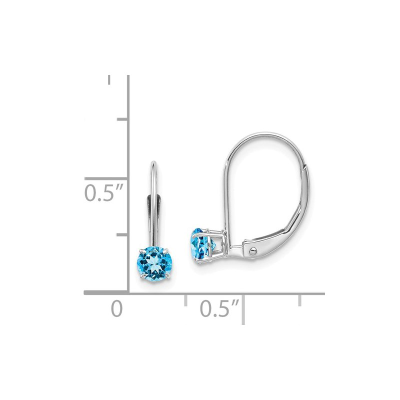 Signature Collection 14k White Gold 4mm Blue Topaz Leverback Earrings