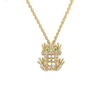 18k Yellow Gold Diamond & Emerald Frog Pendant