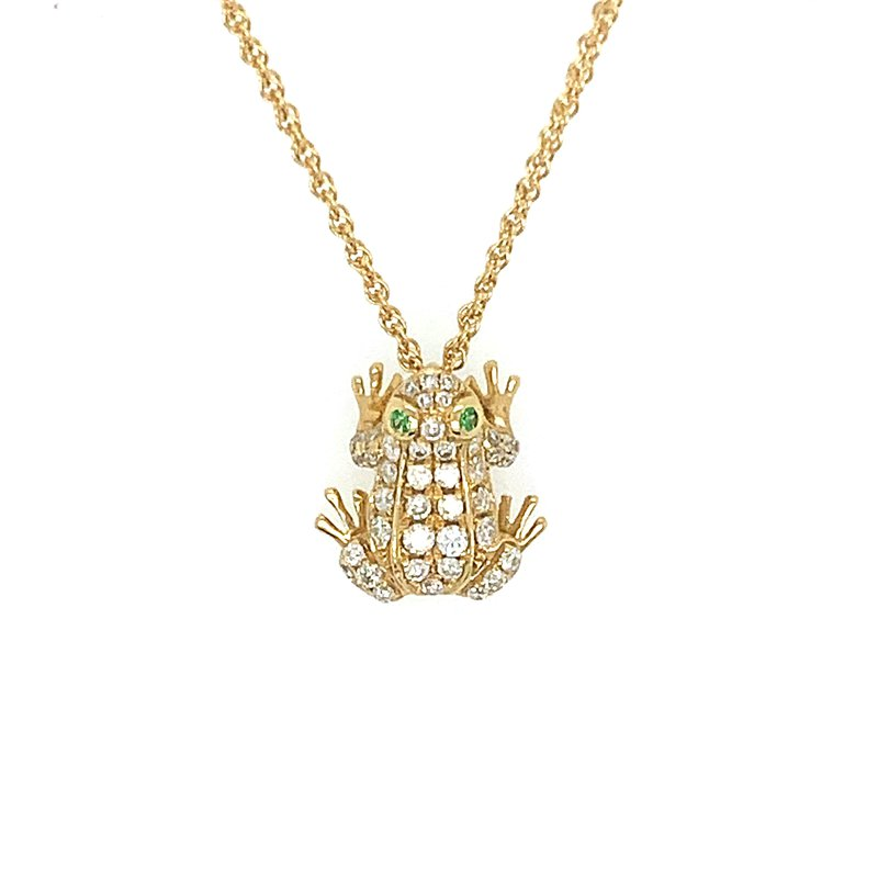 Signature Collection 18k Yellow Gold Diamond & Emerald Frog Pendant