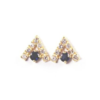 Genuine Blue Sapphire & Diamond Earrings - 9610