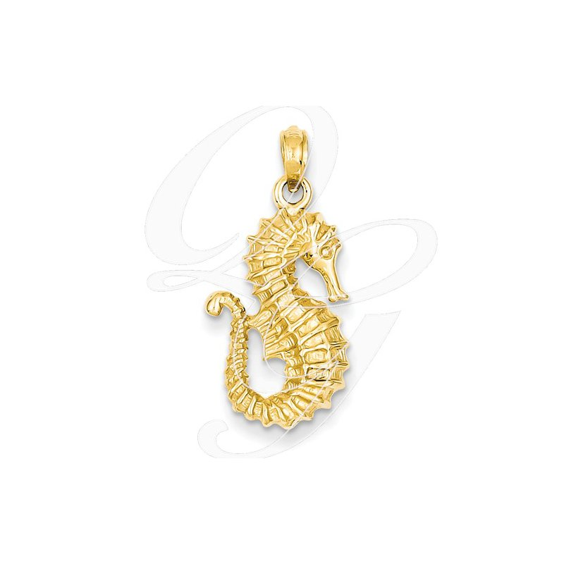Sealife Jewelry Quality Collection 14k Yellow Gold Seahorse Pendant