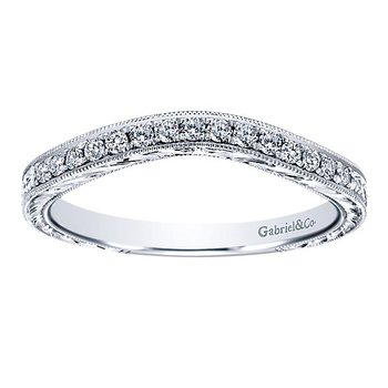 Platinum Victorian Style Curved Diamond Wedding Band from the Amavida Collection by Gabriel NY