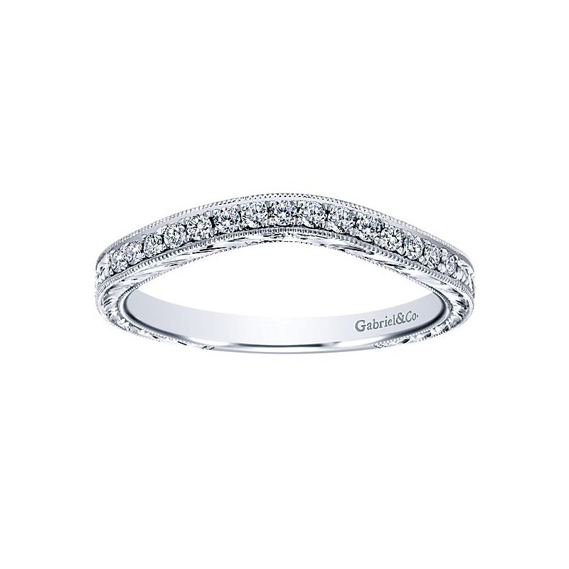 Gabriel NY Platinum Victorian Style Curved Diamond Wedding Band from the Amavida Collection by Gabriel NY