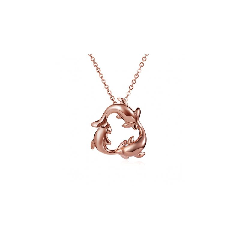 Sealife Jewelry Alamea Triple Circling Dolphin Pendant in 14k Rose Gold