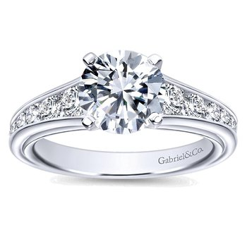 14k White Gold Graduated Diamond Engagement Ring by Gabriel NY