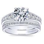 Gabriel NY 14k White Gold Graduated Diamond Engagement Ring by Gabriel NY
