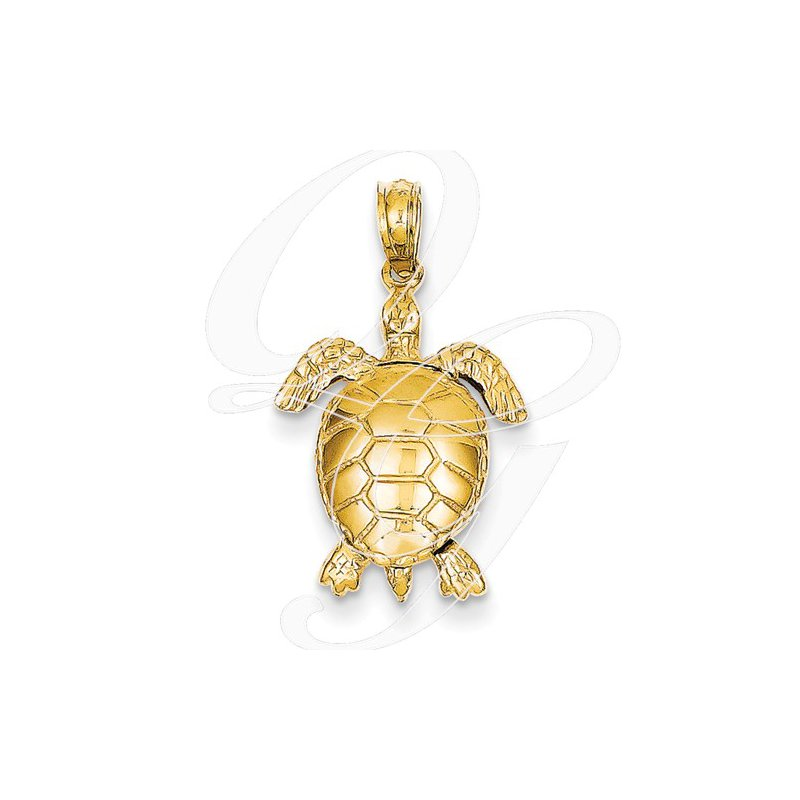 Sealife Jewelry Quality Collection 14k Yellow Gold 3-D Moveable Turtle Pendant