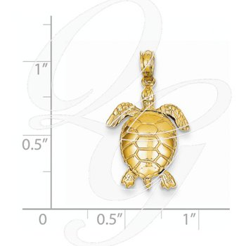 Quality Collection 14k Yellow Gold 3-D Moveable Turtle Pendant
