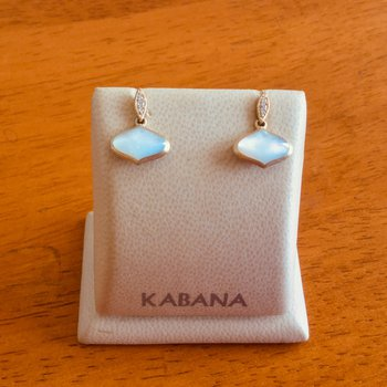 14k Yellow Gold Drop Earrings by Kabana with White Mother of Pearl and Diamond