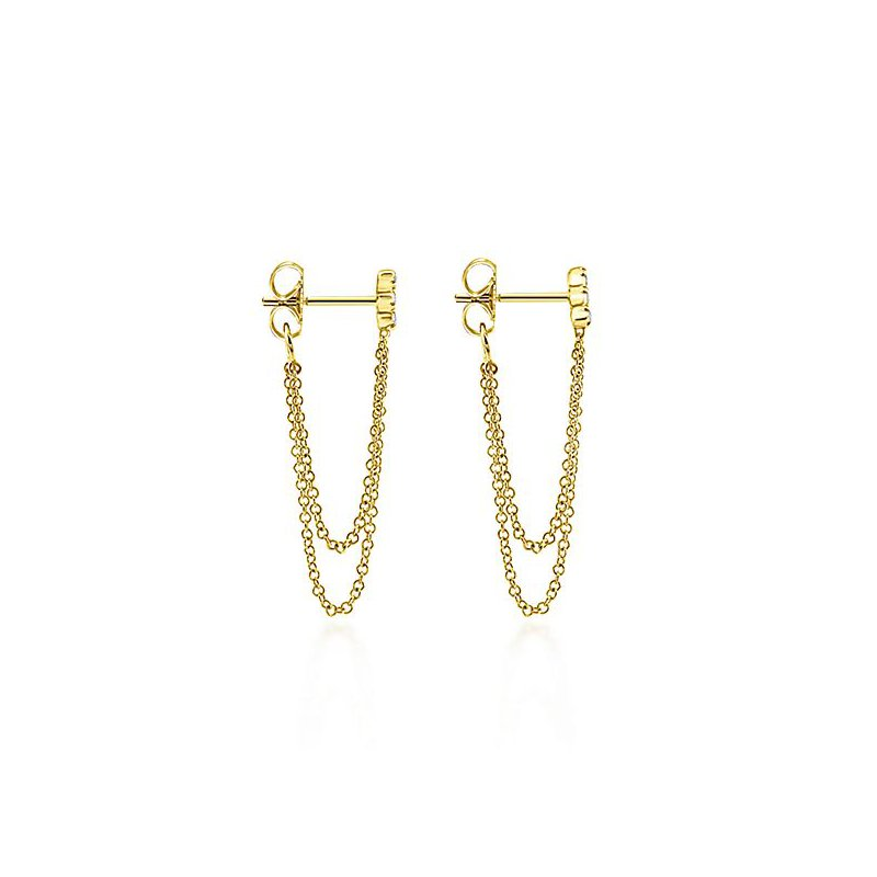 Signature Collection 14k Yellow Gold Chain Drop Earrings by Gabriel NY - Style #EG13082Y