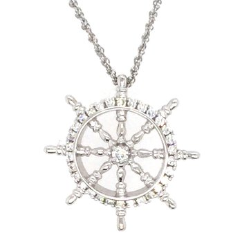 14k White Gold Diamond Ships Wheel Pendant
