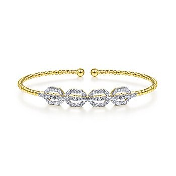 Gabriel NY Bujukan 14k Yellow Gold Bead Cuff Bangle Bracelet with Diamond Pave'