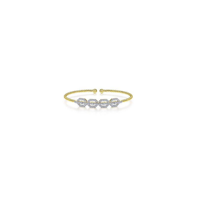 Signature Collection Gabriel NY Bujukan 14k Yellow Gold Bead Cuff Bangle Bracelet with Diamond Pave'