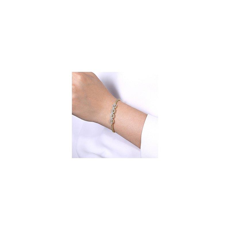 Signature Collection Gabriel NY Bujukan 14k Yellow Gold Bead Cuff Bangle Bracelet with Diamond Pave'