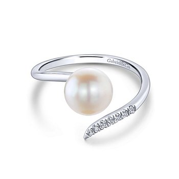 From the Pearl Collection 14k White Gold Contemporary Bypass Pearl and Diamond Ring