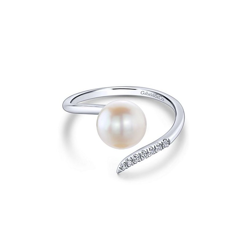 Signature Collection From the Pearl Collection 14k White Gold Contemporary Bypass Pearl and Diamond Ring