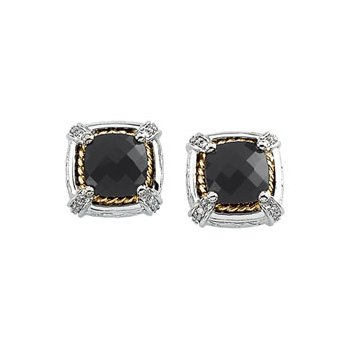 Genuine Checkerboard Onyx & Diamond Earrings
