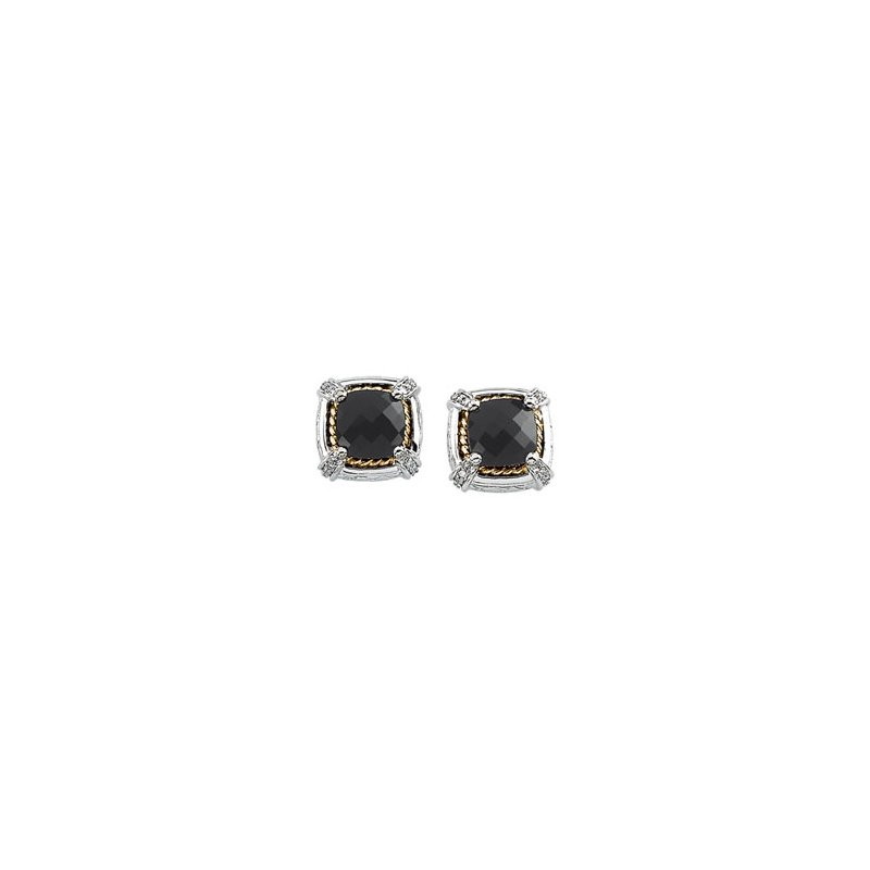Signature Collection Genuine Checkerboard Onyx & Diamond Earrings