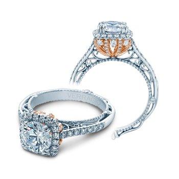 Verragio Venetian 5060CU-PLT - TT - Platinum Cushion Halo Diamond Engagement Ring by Verragio