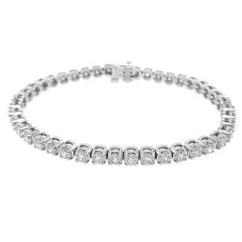 14k White Gold 6.42ct Round Diamond Tennis Bracelet