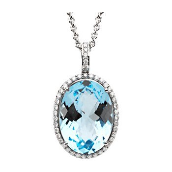 Genuine Checkerboard Sky Blue Topaz & Diamond Necklace